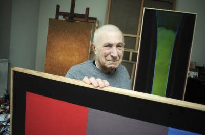 Stefan Gierowski in his studio, 2010, fphot by Włodzimierz Wasyluk_Reporter, from Internet